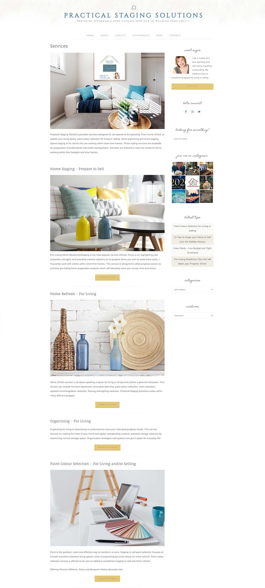 Practical Staging Solutions Website Redesign - services page showing captivating photos to engage visitors.